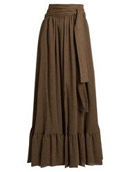 See By Chloe Waist Tie Gathered Gauze Maxi Skirt Light Brown