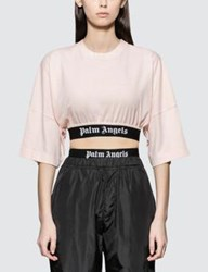 Palm Angels Cropped Logo Over Short Sleeve T Shirt