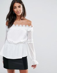 Amy Lynn Occasion Long Sleeve Crochet Lace Top White