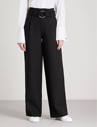 Moandco. Belted High Rise Wide Leg Woven Trousers Black