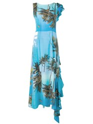 Natasha Zinko Printed Frilled Back Maxi Dress Blue