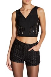 Wow Couture Mesh V Neck Crop Shirt Black