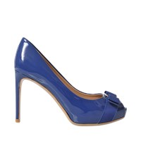 Salvatore Ferragamo Plum Open Toe Pump
