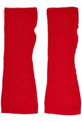 Madeleine Thompson Ribbed Wool And Cashmere Blend Fingerless Gloves Red