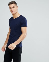 Tom Tailor Crew Neck T Shirt With Raw Edge In Navy 6576 Navy