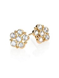 Temple St. Clair Classic White Sapphire And 18K Yellow Gold Flower Earrings