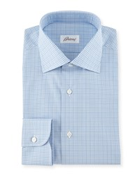 Brioni Multi Check Woven Dress Shirt Blue White Assorted