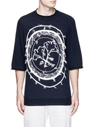 3.1 Phillip Lim Stamp Embroidery Wool Yak Cashmere Sweater Blue