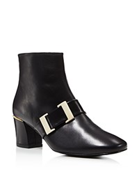 Delman Chill Mid Heel Buckle Booties Black
