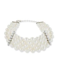 Jose And Maria Barrera Pearly Collar Statement Necklace Silver
