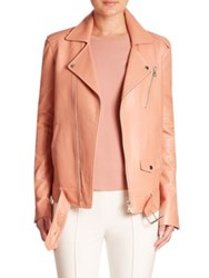 Theory Tralsmin Leather Moto Jacket Pink Rose