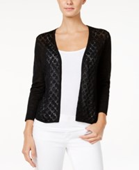 Charter Club Petite Diamond Stitch Open Front Cardigan Only At Macy's Deep Black
