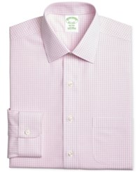 Brooks Brothers Men's Milano Extra Slim Fit Non Iron Pink Tonal Check Dress Shirt