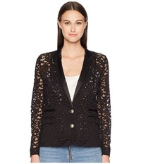 The Kooples Lace And Satin Jacket Black Coat