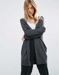 Asos Cardigan In Cut About Shape Charcoal Grey