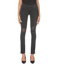 Rag And Bone The Skinny Ripped Mid Rise Jeans Soft Rock W Holes