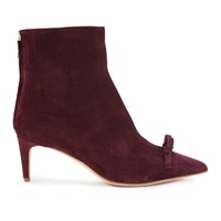 Red Valentino Bow Suede Ankle Boots Dark Red