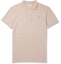 Maison Kitsune Slim Fit Cotton Pique Polo Shirt Neutrals