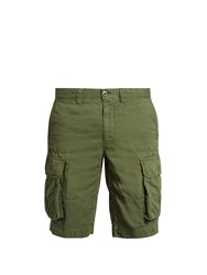 Incotex Cargo Pocket Cotton And Linen Blend Shorts Green
