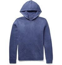 The Elder Statesman Fleece Back Cotton Jersey Hoodie Blue