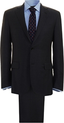 Barneys New York Solid Wool Suit Charcoal