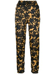 Christian Wijnants Floral Print Trousers Women Cupro Viscose 38 Yellow Orange