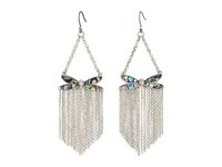 Lucky Brand Abalone Dragonfly Fringe Earrings Silver Earring
