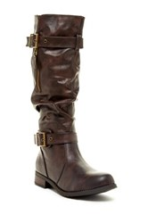 West Blvd Shoes Madras Faux Leather Slouchy Riding Boot Brown