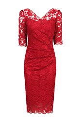 Jolie Moi Three Quarter Sleeve Scalloped Dress Red