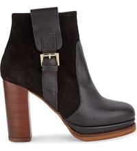 Kg By Kurt Geiger Sibling Leather Suede Contrasting Ankle Boots Black