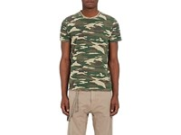 Barneys New York Camouflage Cotton T Shirt Olive