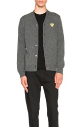 Comme Des Garcons Play Cardigan With Gold Emblem In Gray