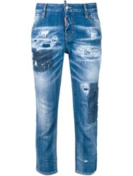 Dsquared2 Distressed Cropped Jeans Blue