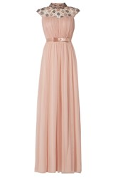 Raishma High Neck Flower Pleated Gown Pink