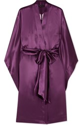 Carine Gilson Chantilly Lace Trimmed Silk Satin Robe Purple