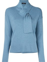 Steffen Schraut Tied Neck Knit Blouse Blue