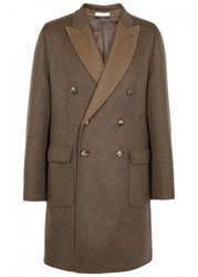Boglioli Brown Wool Blend Coat Beige