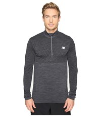 New Balance M4m Seamless Quarter Zip Top Black Heather Men's Long Sleeve Pullover