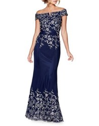 Quiz Floral Embroidered Evening Dress Navy Silver