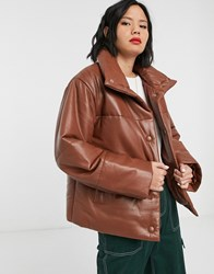 Muubaa Leather Padded Jacket With Funnel Neck Tan