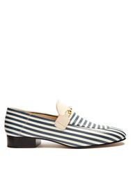 Joseph Striped Leather Loafers White Stripe