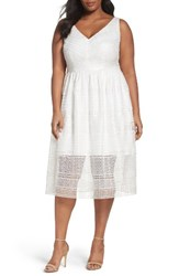 Adrianna Papell Plus Size Women's Tea Length Lace Dress