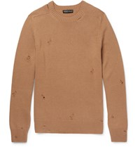 Alexander Mcqueen Distressed Cashmere Sweater Camel