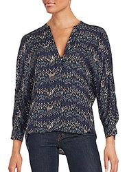 Zadig And Voltaire Long Sleeve Printed Silk Top Navy