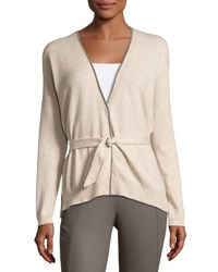 Brunello Cucinelli Cashmere Monili Trim Cardigan Light Gray