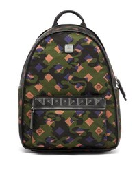Mcm Dieter Munich Lion Camo Canvas Backpack Green