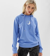 Daisy Street Boyfriend Hoodie With Embroidered Moon Blue