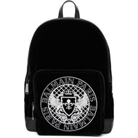 Balmain Black Velvet And Leather Beast Backpack