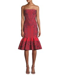 Herve Leger Strapless Geometric Metallic Jacquard Cocktail Dress W Flounce Hem Red Blue