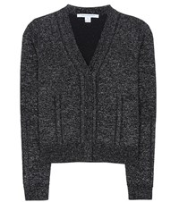 Diane Von Furstenberg Adelyn Metallic Wool Blend Cardigan Black